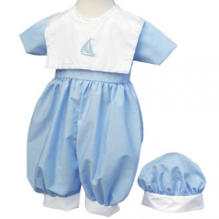 Baby Boys Blue Sail Boat Christening Romper & Hat