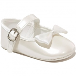 Baby Girls Ivory Bow Pearlescent Buckle Shoes