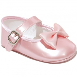 Baby Girls Pink Bow Pearlescent Buckle Shoes