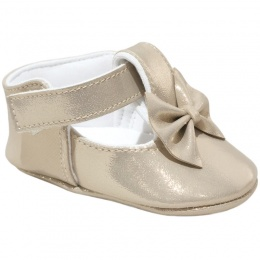 Baby Girls Gold Sparkly Shimmer Bow Shoes