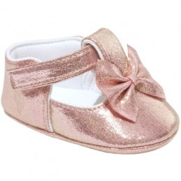 Baby Girls Pink Sparkly Shimmer Bow Shoes