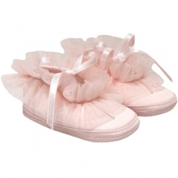 Baby Girls Pink Frilly Organza Soft Satin Shoes
