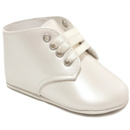 Baby Boys Ivory Matt Lace Up Boot Style Shoes