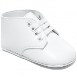 Baby Boys White Matt Lace Up Boot Style Shoes