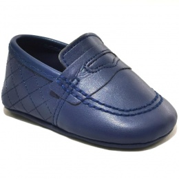 Baby Boys Navy Matt Quilted Slip on Loafers