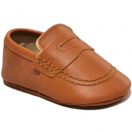 Baby Boys Tan Matt Quilted Slip on Loafers