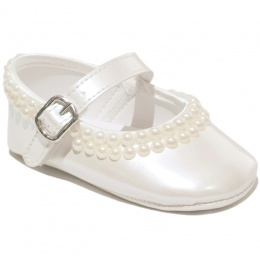 Baby Girls Ivory Pearl Pearlescent Buckle Shoes