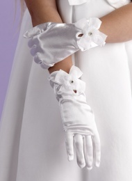 Girls White Bow Communion Gloves - Elizabeth P114 by Peridot