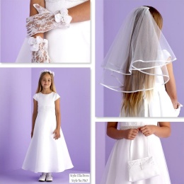 Ella White Communion Dress, Bag, Gloves & Veil - Peridot