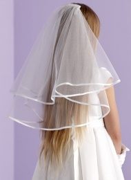 Girls Two Tier Satin Edge Veil - Emily P101 by Peridot