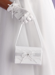 Girls Lace & Ribbon Satin Bag - Emma P124 by Peridot