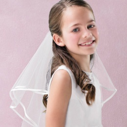 Emmerling Ivory or White Satin Edge Communion Veil - Style 77168