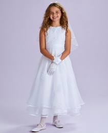 White Embroidered Organza Communion Dress - Estelle P203 by Peridot