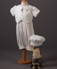 Baby Boys Millie Grace Ethan Cotton Christening Romper & Hat