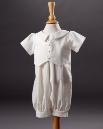 Baby Boys Cotton Christening Romper - Ethan by Millie Grace