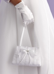 Girls White Bow Satin Bag - Eve P122 by Peridot
