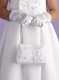 Girls Flower Beaded Satin Bag - Evelyn P123 by Peridot