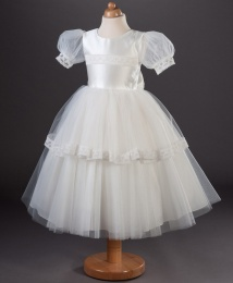 Girls Vintage Lace Organza Dress - Evie by Busy B's Bridals