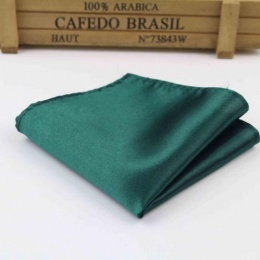 Boys Forest Green Satin Pocket Square Handkerchief