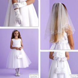 Freya White Communion Dress, Bag, Gloves & Veil - Peridot