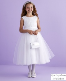 White Beaded Lace Holy Communion Dress - Freya P174 by Peridot