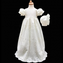Baby Girls Ivory Floral Lace Long Gown & Bonnet