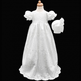 Baby Girls White Floral Lace Long Gown & Bonnet
