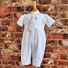 Exclusive Millie Grace 'George' White Christening Romper with Cross Tie