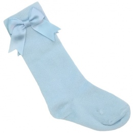 Girls Baby Blue Knee Length Satin Bow Socks