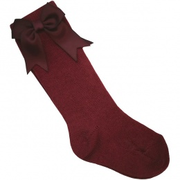 Girls Wine Knee Length Satin Bow Socks