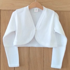 Girls White 100% Cotton Long Sleeved Bolero