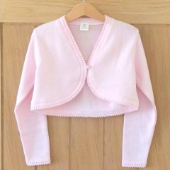 Girls Light Pink 100% Cotton Long Sleeved Bolero