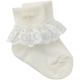 Baby Girls Ivory Lace Christening Cross Socks