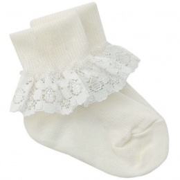 Girls Ivory Lace Kinder Socks