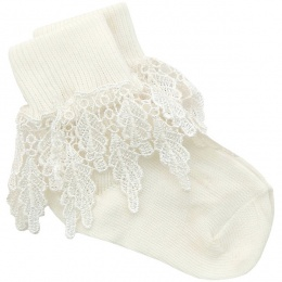 Girls Ivory Deep Lace Little Princess Socks