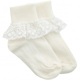 Girls Ivory Frilly Lace Soft Ankle Socks