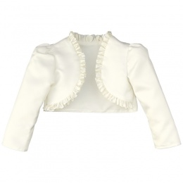 Girls Ivory Satin Long Sleeved Frilly Bolero
