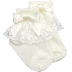 Girls Ivory Lace Socks with Ivory Satin Bows