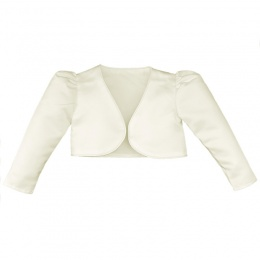Girls Ivory Satin Long Sleeved Bolero