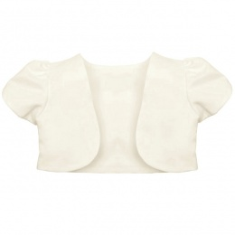 Girls Ivory Satin Short Sleeved Bolero