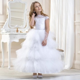 Girls Lace & Tiered Tulle Dress by Lacey Bell Style CD16