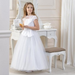 Girls Lace, Satin & Tulle Dress by Lacey Bell Style CD19