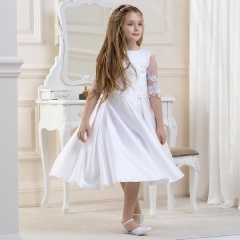 Girls Lace Sleeve Satin Dress by Lacey Bell Style CD5