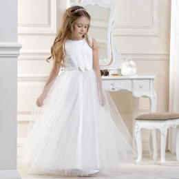 Girls Ivory Dotted Glitter Tulle Dress by Lacey Bell Style CD8