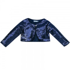 Girls Navy Sequin Long Sleeved Bolero