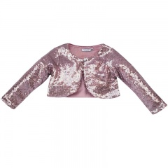 Girls Pink Sequin Long Sleeved Bolero