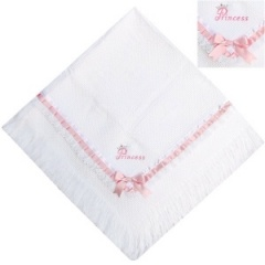 Luxury White & Pink Princess Shawl with Lace & Ribbon