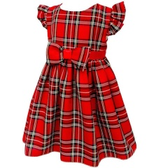 Baby Girls Red Tartan Cap Sleeve Bow Dress
