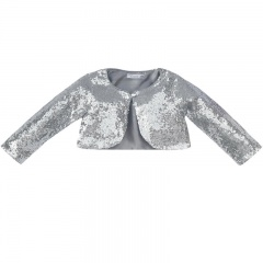 Girls Silver Sequin Long Sleeved Bolero