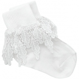 Girls White Deep Lace Little Princess Socks